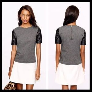 j. crew // faux leather short sleeve gray top tee